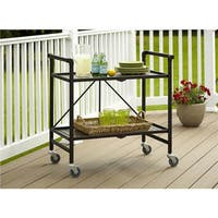 Porch & Den Wicker Park Winchester Outdoor Folding Serving Cart