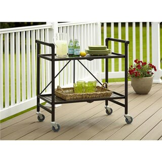 Porch & Den Wicker Park Winchester Outdoor Folding Serving Cart (2 options available)