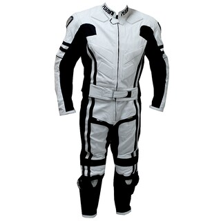 2-piece Perrini Ghost Motorcycle Racing Leather Suit Metal Waist Zipper (More options available)
