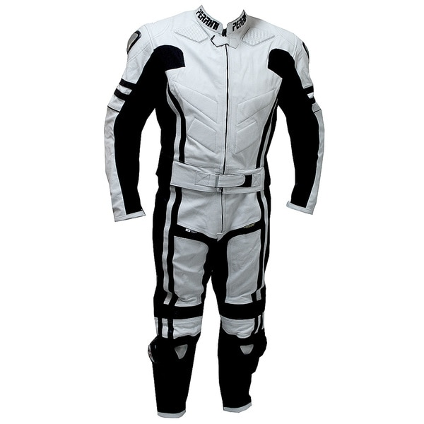 2-piece Perrini Ghost Motorcycle Racing Leather Suit Metal Waist Zipper