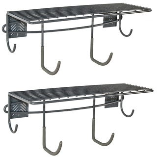 GlideRite Slatwall Accessory 20-inch Shelf with Hooks (Set of 2)