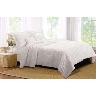 Greenland Home Fashions Tiana White Ruched 5-piece Bonus Quilt Set