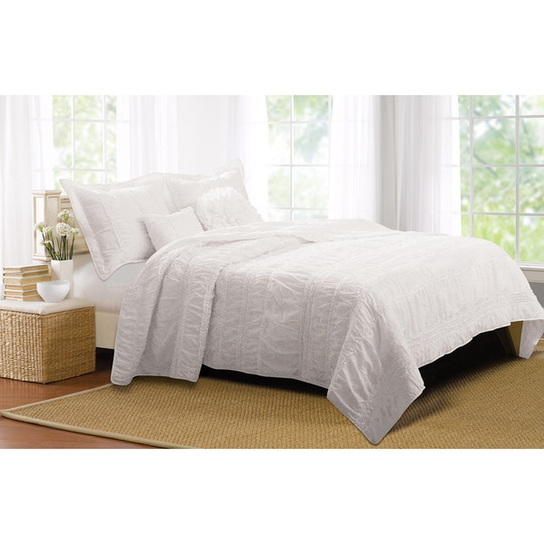 Greenland Home Fashions Tiana White Ruched 5-piece Bonus Quilt Set