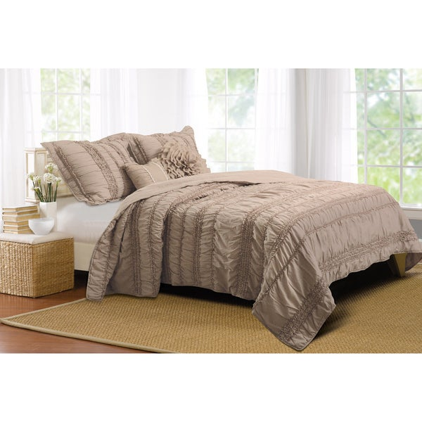 Greenland Home Fashions Tiana Country Taupe Bonus 5-piece Quilt Set