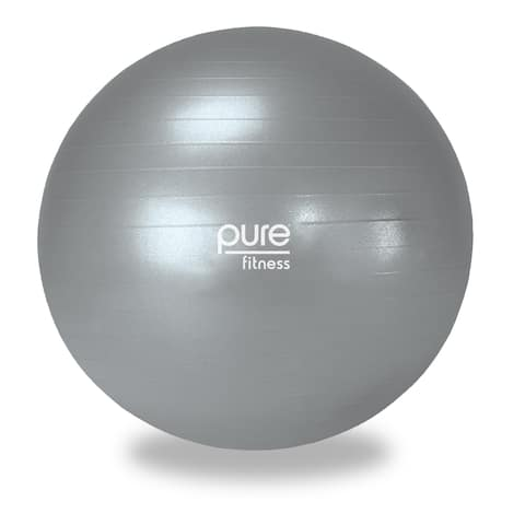 Pure Fitness 75cm Professional Anti-burst Exercise Stability Ball - Silver