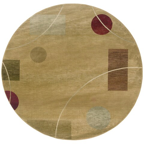 Generations Beige/ Red Rug - 6' Round