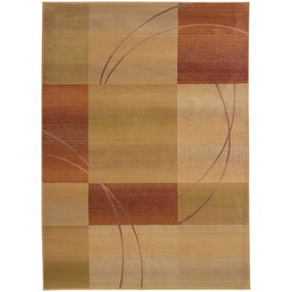 Generations Beige/ Rust Geometric Rug (6'7 x 9'1)