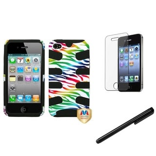 INSTEN Zebra Skin Phone Case Cover/ Stylus/ LCD Protector for Apple iPhone 4/ 4S