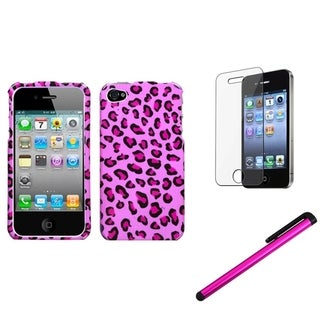 INSTEN Pink Leopard Phone Case Cover/ Stylus/ LCD Protector for Apple iPhone 4/ 4S