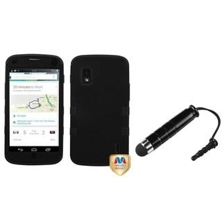 INSTEN Black Hybrid Protector Phone Case Cover/ Mini Stylus for LG E960 Nexus 4