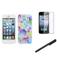 INSTEN Rainbow Bubble Phone Case Cover/ Stylus/ LCD Protector for Apple iPhone 5/ 5C/ 5S/ SE