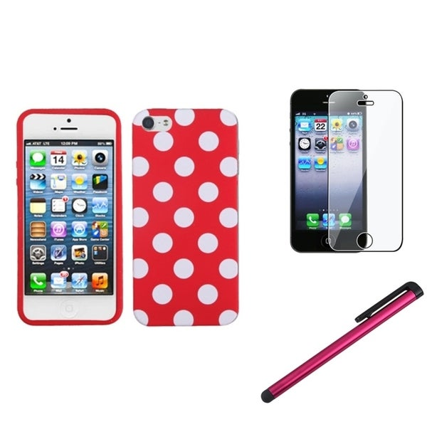 BasAcc Polka Dot Case/ Stylus/ LCD Protector for Apple iPhone 5