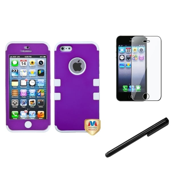 INSTEN Hybrid Phone Case Cover/ Screen Protector/ Stylus for Apple iPhone 5