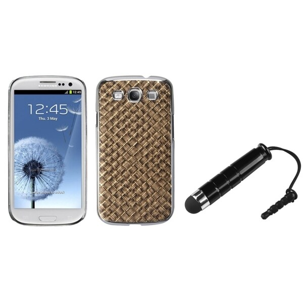 INSTEN Brown Silver Plating/ Gold Phone Case Cover/ Stylus for Samsung Galaxy S3
