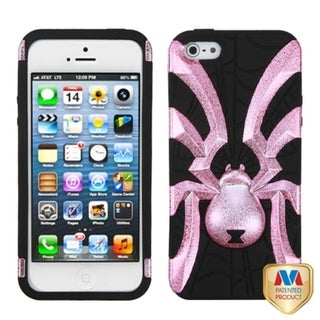 INSTEN Pink Plating/ Black Spiderbite Hybrid Phone Case Cover for Apple iPhone 5