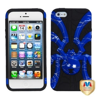 INSTEN Blue/ Black Lines/ Spiderbite Hybrid Phone Case Cover for Apple iPhone 5