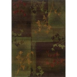 Kharma II Purple/ Green Rug (2'3 x 4'5)