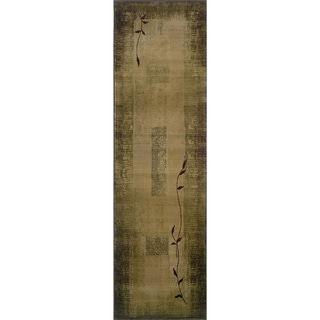 Generations Green/ Beige Runner Rug (2'7 x 9'1)
