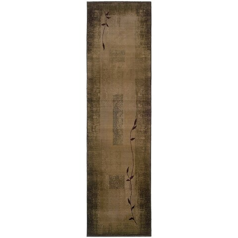 Generations Green/ Beige Runner Rug - 2'7 x 9'1
