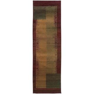 Kharma II Green/ Red Rug (2'3 x 7'6)