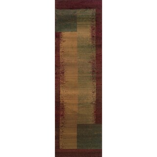 Kharma II Green/ Red Rug (2'6 x 9'1)