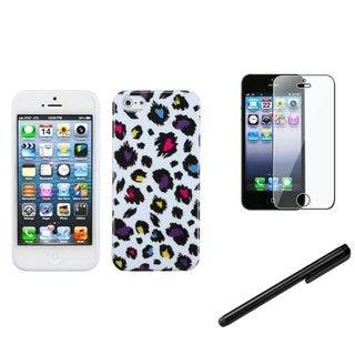 INSTEN Colorful Leopard Phone Case Cover/ Stylus/ LCD Protector for Apple iPhone 5/ 5C/ 5S/ SE