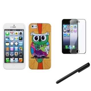 INSTEN Orange Owl Phone Case Cover/ Stylus/ LCD Protector for Apple iPhone 5/ 5C/ 5S/ SE