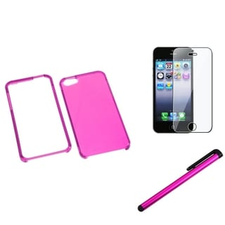 INSTEN T-Clear Hot Pink Phone Case Cover/ Stylus/ LCD Protector for Apple iPhone 5/ 5C/ 5S/ SE
