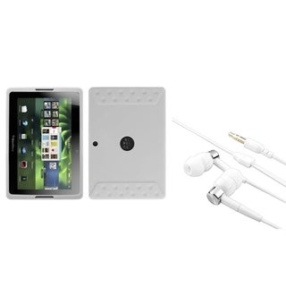 INSTEN Solid White Phone Case Cover/ Silver/ White Headset for Blackberry Playbook