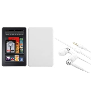 INSTEN Solid White Phone Case Cover/ Silver/ White Headset for Amazon Kindle Fire