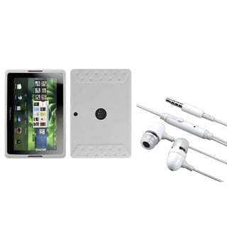 INSTEN Solid White Phone Case Cover/ Handsfree Headset for Blackberry Playbook
