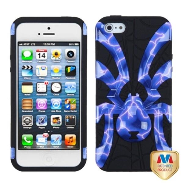 INSTEN Blue/ Black Spiderbite Hybrid Phone Case Cover for Apple iPhone 5