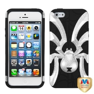 INSTEN Silver/ Black Spiderbite Hybrid Phone Case Cover for Apple iPhone 5