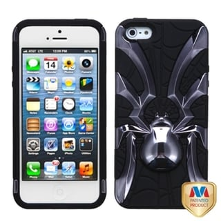INSTEN Metal Plating/ Black Spiderbite Hybrid Phone Case Cover for Apple iPhone 5
