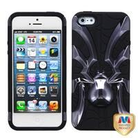 INSTEN Metal Plating/ Black Spiderbite Hybrid Phone Case Cover for Apple iPhone 5