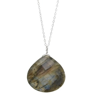 Ashanti Sterling Silver Large Faceted Labradorite Necklace (Sri Lanka)