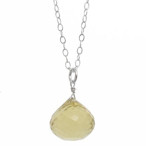 "Lemon Quartz, Faceted Briolette Gemstone Sterling Silver Handmade 18"" Necklace. Ashanti Jewels"