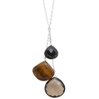 Ashanti Sterling Silver Smokey Quartz, Tiger Eye and Black Spinel Necklace (Sri Lanka)