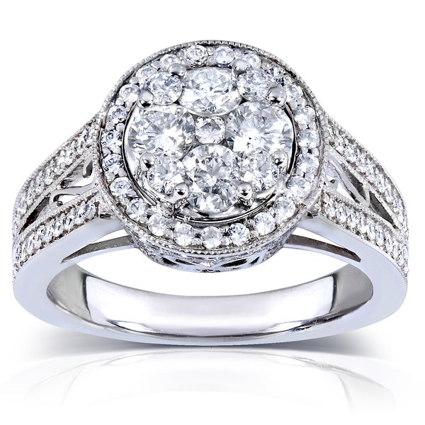Annello by Kobelli 14k White Gold 1 1/3 ct TDW Ladies Round Diamond Cluster Engagement Ring