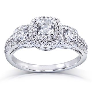 Annello 14k White Gold 1 ct TDW Three-Stone Diamond Cluster Engagement Ring (H-I, I1-I2)