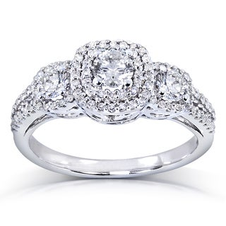 Annello by Kobelli 14k White Gold 1 ct TDW Three-Stone Diamond Cluster Engagement Ring (H