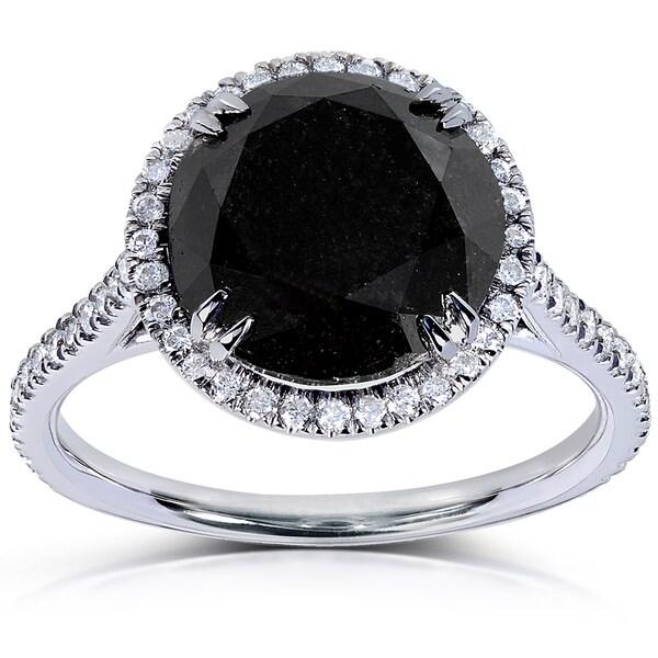 Annello by Kobelli 14k White Gold 4 1/3ct TDW Black and White Diamond Ring (H-I, I1-I2)