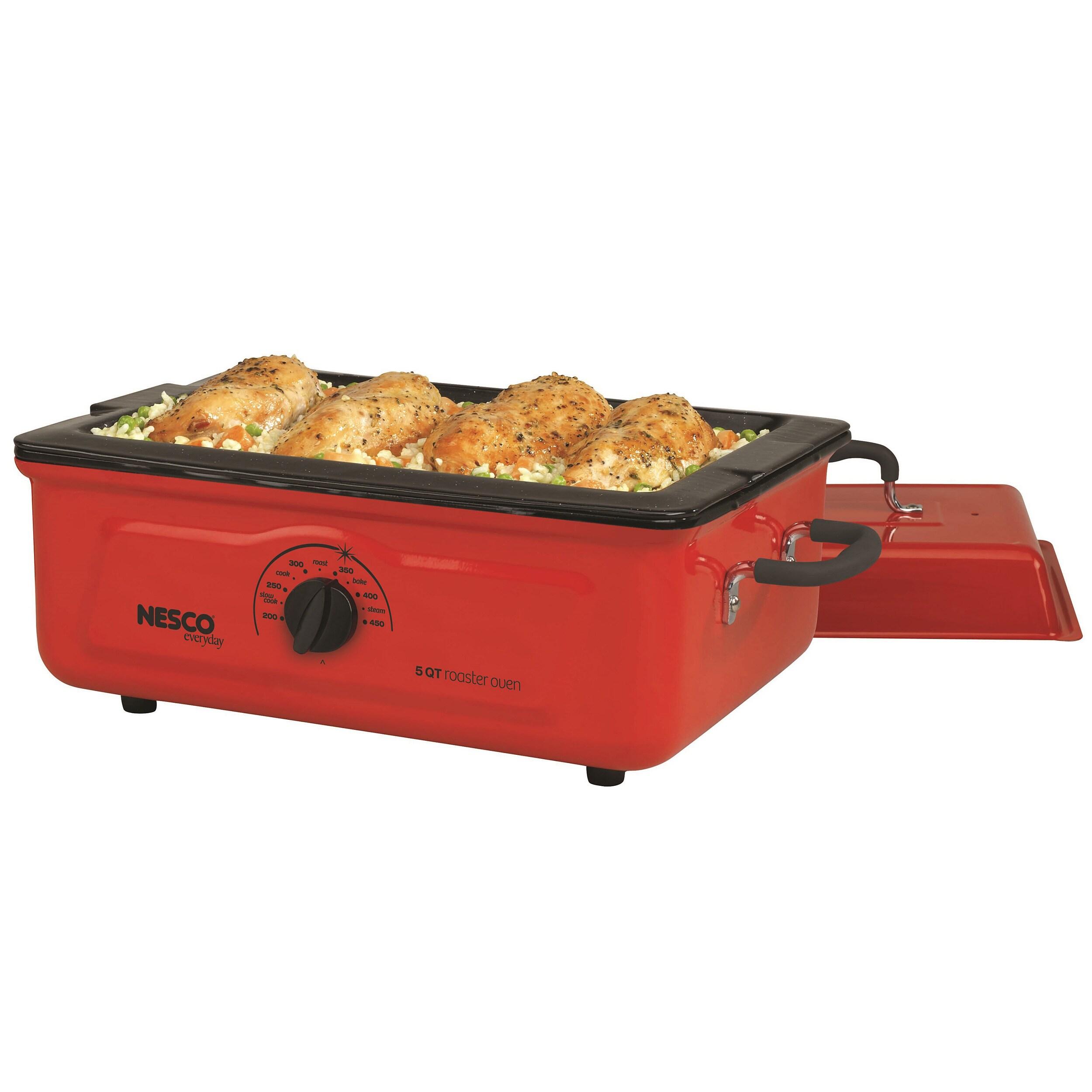 Nesco Cookwell Red 5-quart Porcelain Roaster Oven (Red), ...