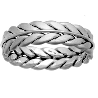 14k White Gold Men's Comfort Fit Double Rope Design Wedding Band