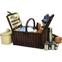 Picnic at Ascot Buckingham Basket for Four with Blanket and Coffee Brown Wicker/Blue Stripe
