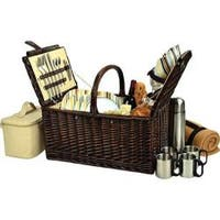 Picnic at Ascot Buckingham Basket for Four with Blanket and Coffee Brown Wicker/Santa Cruz Stripe