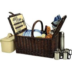 Picnic at Ascot Buckingham Basket for Four with Coffee Brown Wicker/Blue Stripe