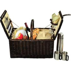 Picnic at Ascot Buckingham Basket for Four with Coffee Brown Wicker/Hamptons