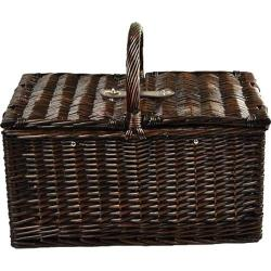 Picnic at Ascot Buckingham Picnic Basket for Four Brown Wicker/Blue Stripe