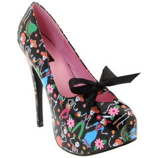 Pinup Couture Women's 'Teeze-12' Black Skull Print Pumps